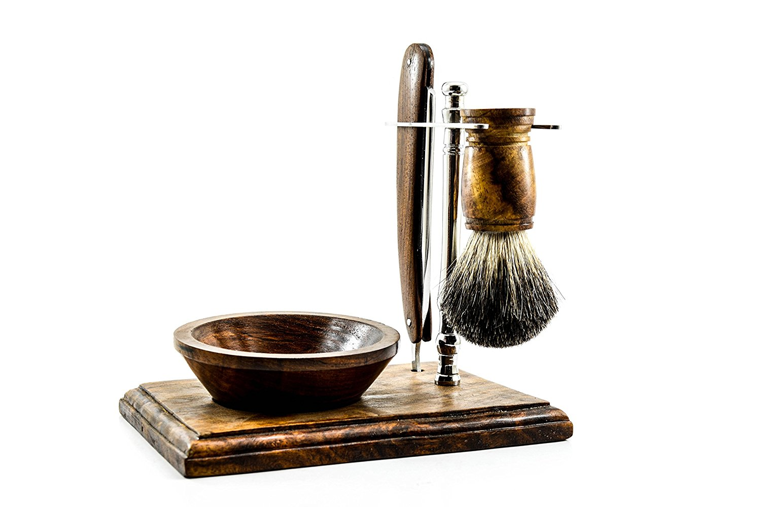 Straight Razor Shaving Kit By Cutlass | Straight Razor | Shaving Brush | Shaving Stand | Shaving Bowl | Rosewood | Stainless Steel | 100% Money Back Guarantee*