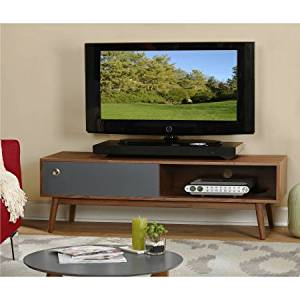 """Walnut/Grey TV Stand for TVs up to 60"""" with 2 Sliding Doors"""