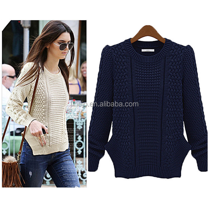 Women's Long Sleeve Designs Asymmetric Hem Pullover Knitted Tops ...
