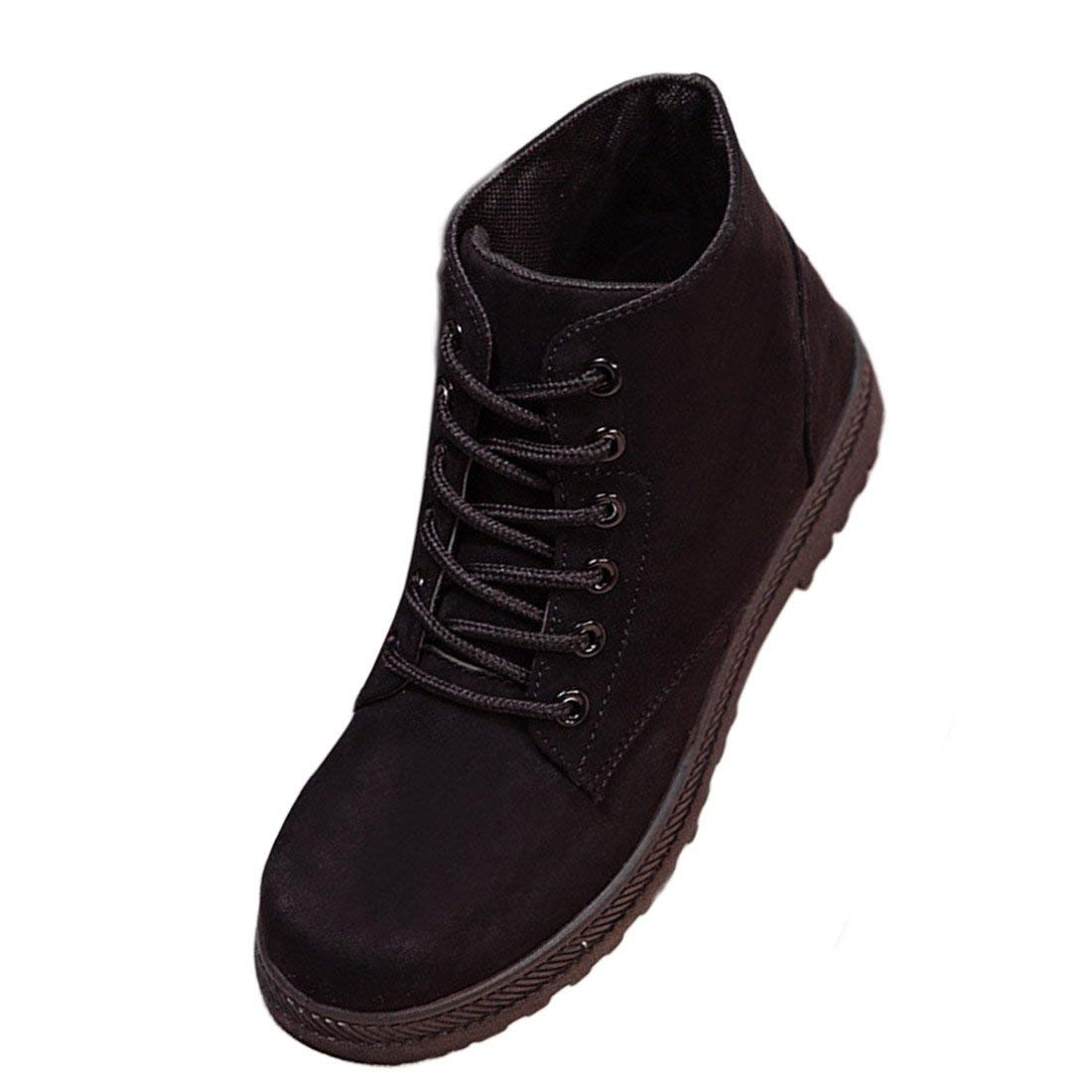 af714869f806 Get Quotations · O&N Women Girls Suede Winter Faux Fur Lace Up Shoes Flat  Cotton Snow Boot