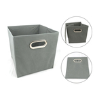 OYUE multipurpose foldable open top fabric storage box with plastic ring handle