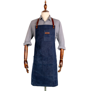 Personalized mens leather blue wash cotton canvas work aprons for sale
