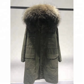 6b05e144873e wholesale winter clothing real rex rabbit fur lined coats raccoon fur  collar colorful cool rivet jacket