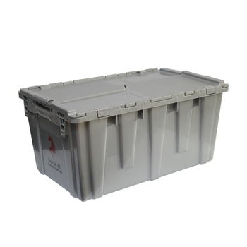 Hot new heavy duty plastic moving crates with foldable lids