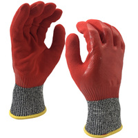 NMSAFETY EN388:2016 Cut level D knitted liner Double Dipped Full Coated Red Nitrile Gloves Safety Working Gloves