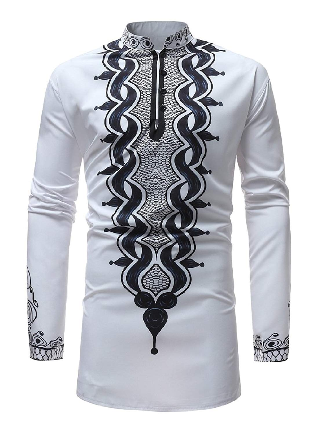 Zimaes-Men Mid Long Plus Size Crewneck Casual African Long Sleeve Tees Top