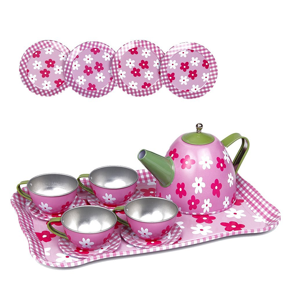 Kidcia Pretend Play Toy 14 Pcs Miniature Tin Tea Set with Teapot & Tea Cups & Saucers & Plates & Tray for Kids, Flower Tea Party Set for Girls, Pink