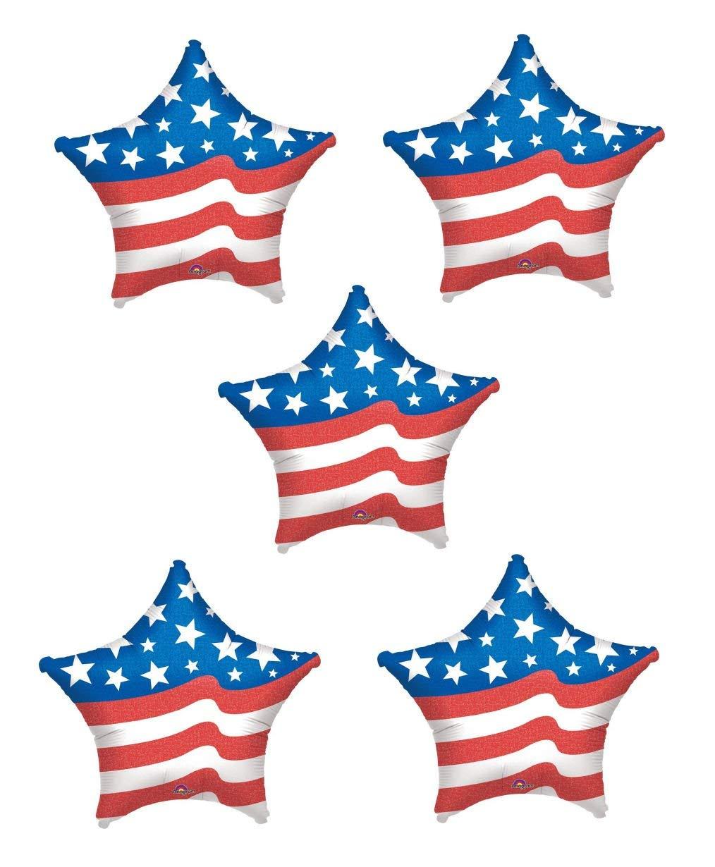 "LOT: Bundle of 5 Anagram Red, White, Blue Star Patriotic Foil Mylar Balloons - 19"""