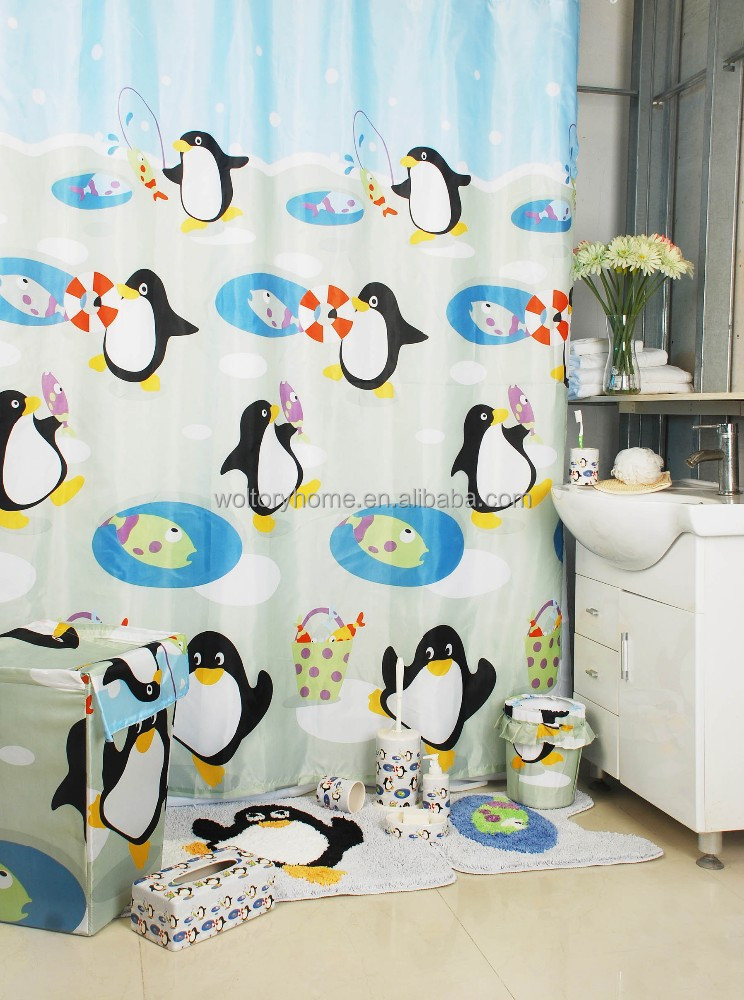 Bathroom Products Bath Set Penguin Shower Curtain With Rug Sets