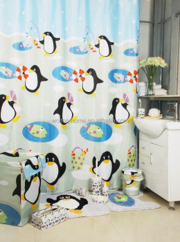 Bathroom Products Bath Set/Penguin Bathroom Set/shower Curtain With Bath Rug  Sets