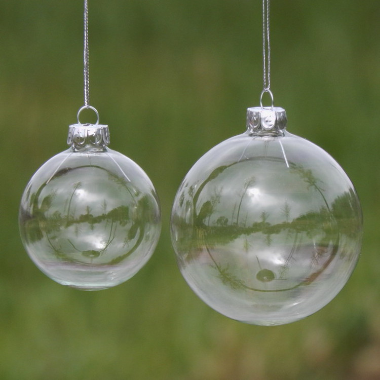Diameter = 8cm Christmas Glass Ball for Christmas Tree Decoration Beautiful Transparent effect Glass Globe