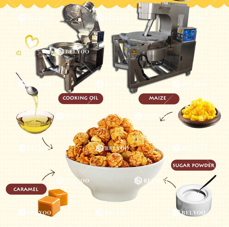 Gas electric mustard strawberry chocolate caramel popcorn maker home portable manual industrial popcorn making machine