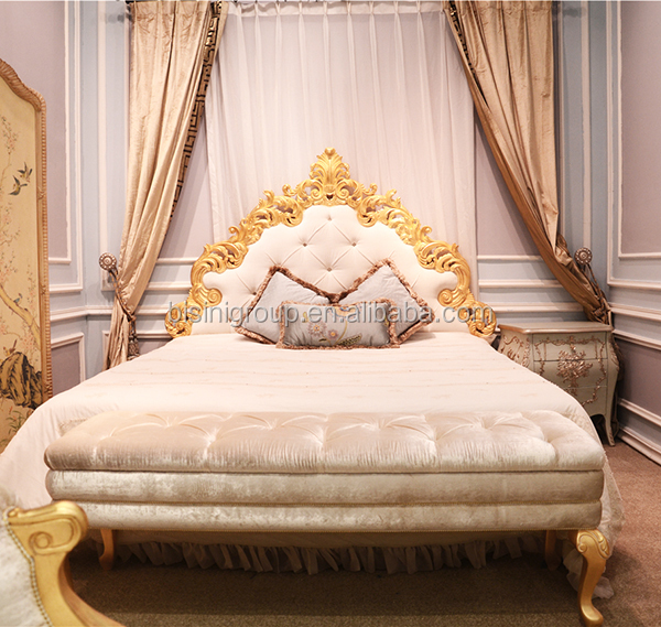 royal french palace princess soft bed with golden crown and drape royal golden bedroom set