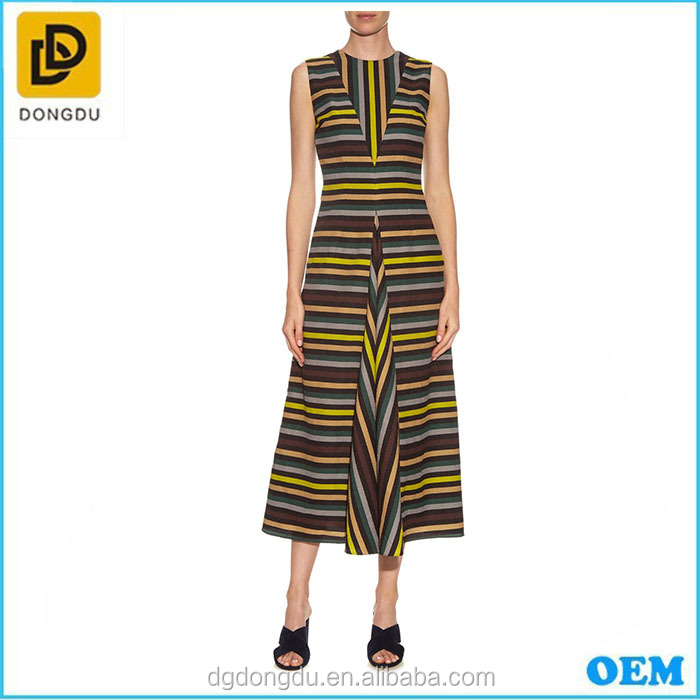 Milly striped midi club dress from dongguan clothing factory