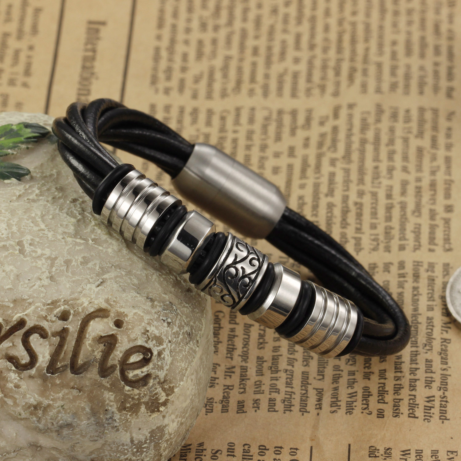 New fashion stainless steel charms men genuine leather bracelet