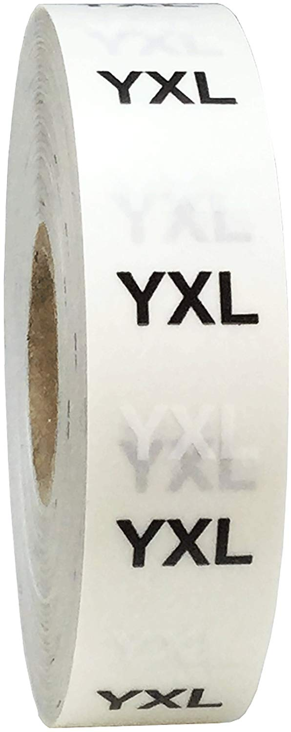 YXL Modern Style Clear Clothing Size Strip Stickers, 3/4 x 6 Inches in Size, 200 Labels on a Roll
