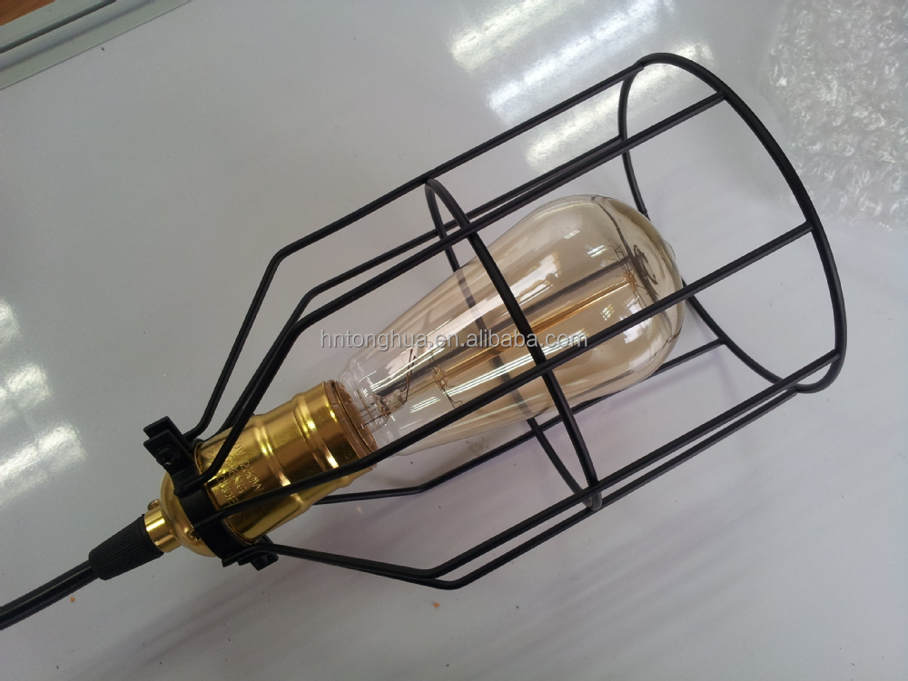 modern dining retro industrial loft indoor decor lighting from home vintage cage iron lamp pendant lights item shade lampshade room in edison