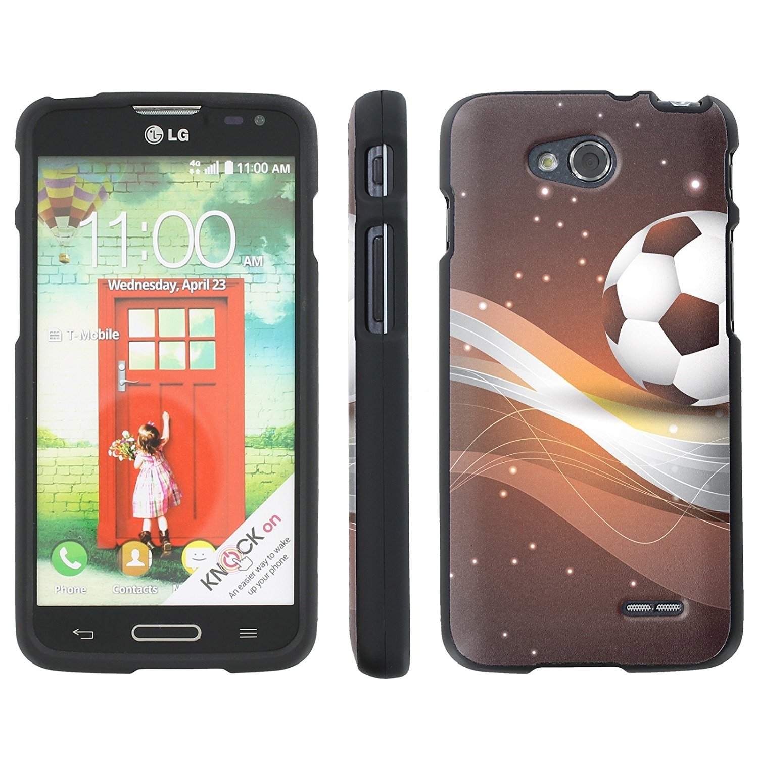 Mobiflare Slim Guard Armor Design Case for [LG Optimus L90 D415] - Soccer Ball - Brown