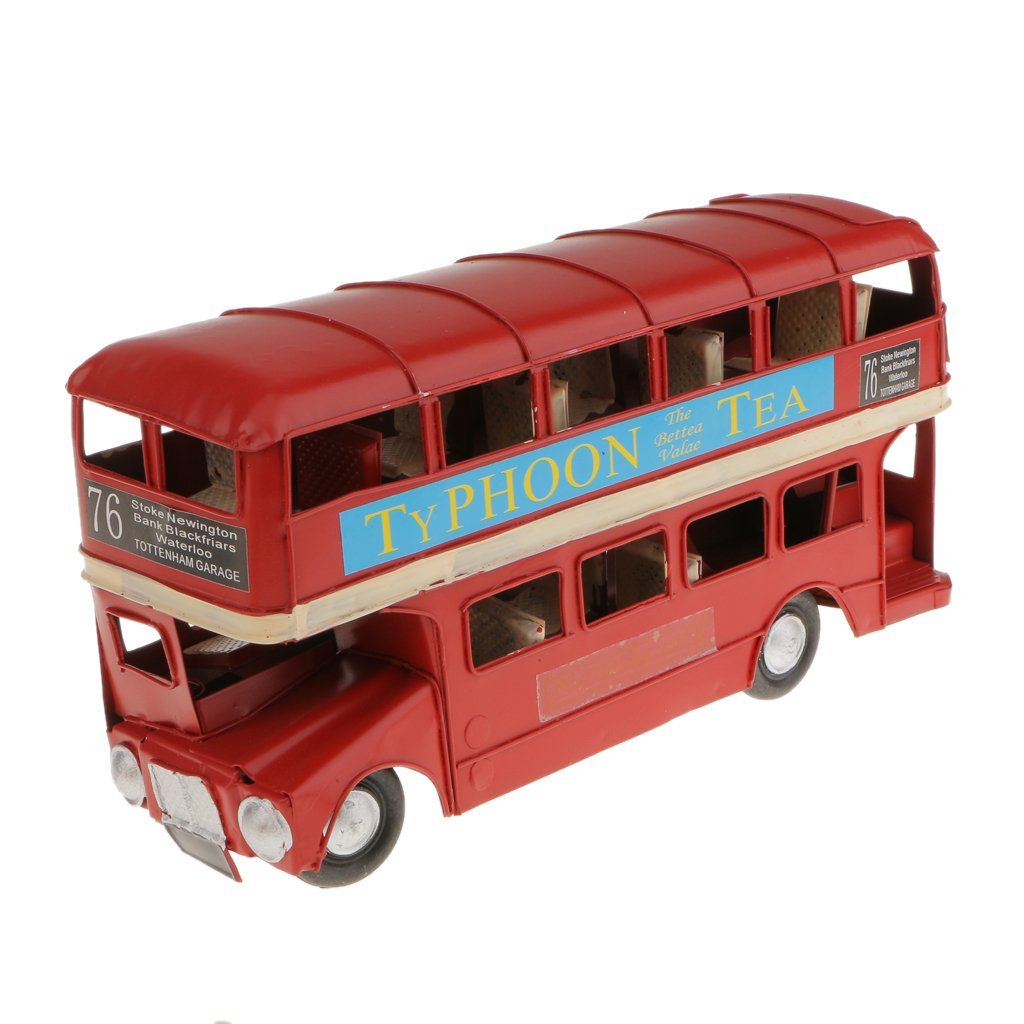 Medium-sized Red Metal Double-deck London Bus Model Diecasts Handmade Crafts