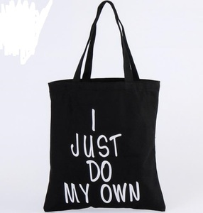 black tote bag cotton canvas with zipper