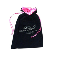 Professional hot sale custom drawstring jewelry black velvet with pink satin lining pouch velvet jewelry drawstring gift bag