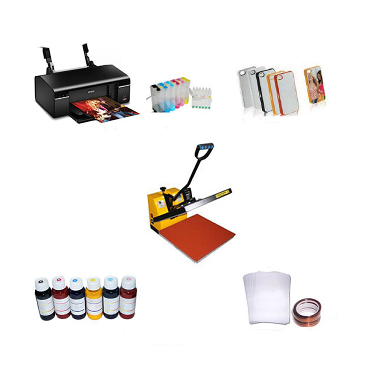 2D PC hard sublimation cases printing machine (heat press machine + Printer + ink + cases)
