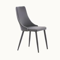 Supply Dark Grey Synthetic Leather/Fabric No Folding Chair Cover Dining Chair