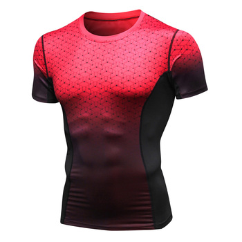 Wholesale Custom Printed Men Blank Design Fitness Dry Fit Polyester Spandex Running Sport Gym T-shirt Slim T Shirt