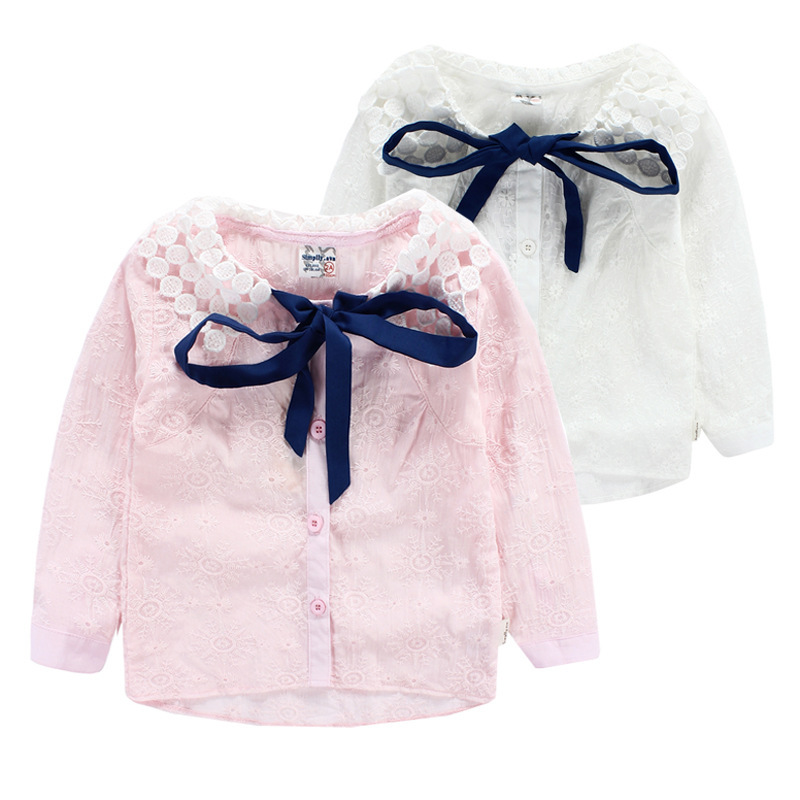 2-7 Years Kids Girls Lace Blouse Pink White Long Sleeve Cotton Shirts For Little Girl Turn Down Collar Clothing 2015 New Arrival