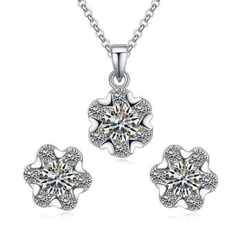 ef32d5bf950b Aliexpress joyería de moda conjunto de joyas de plata esterlina pura  pendientes y collar conjunto