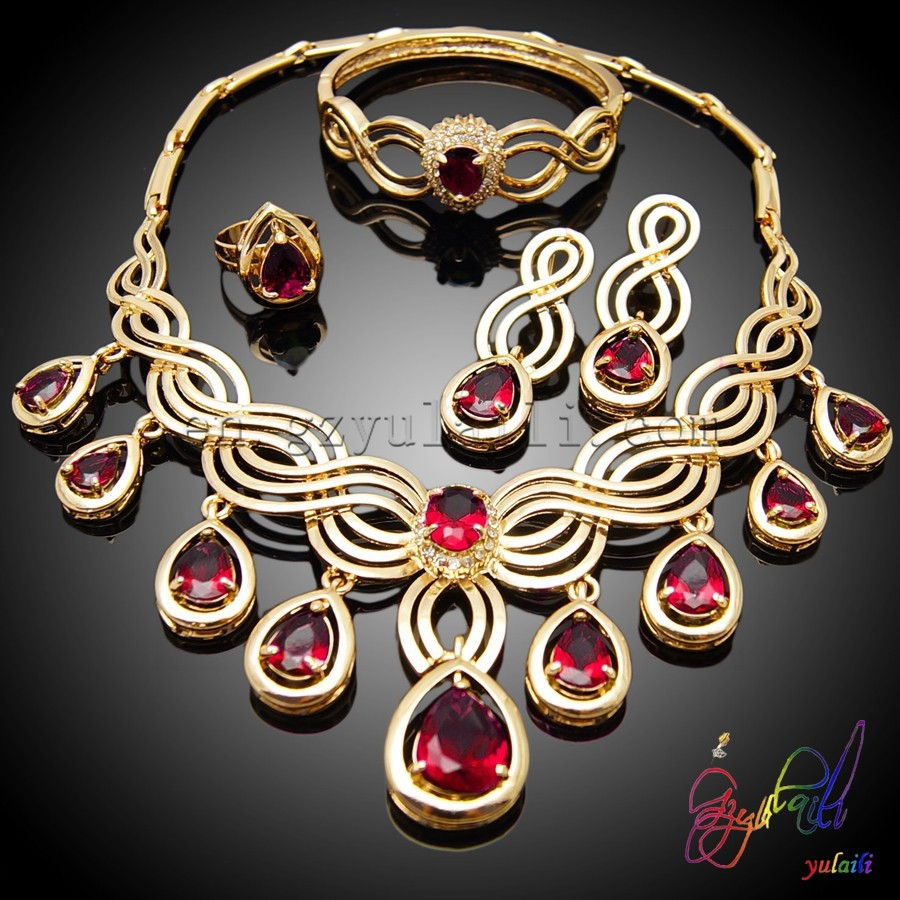 Red Rhinestone Costume Jewelry Gold Plated Sets Glware