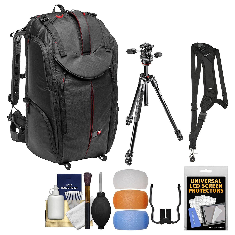 "Manfrotto Pro Light Pro-V-610 PL DSLR Video Camera Backpack & 290 Xtra 67.5"" Professional Tripod with 3-Way Head + Sling Strap + Kit"