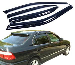 Topline Autopart Sun//Rain Guard Smoke Vent Shade Deflector Window Visor 96-00 Civic 2D//3Dr Ek Ek9