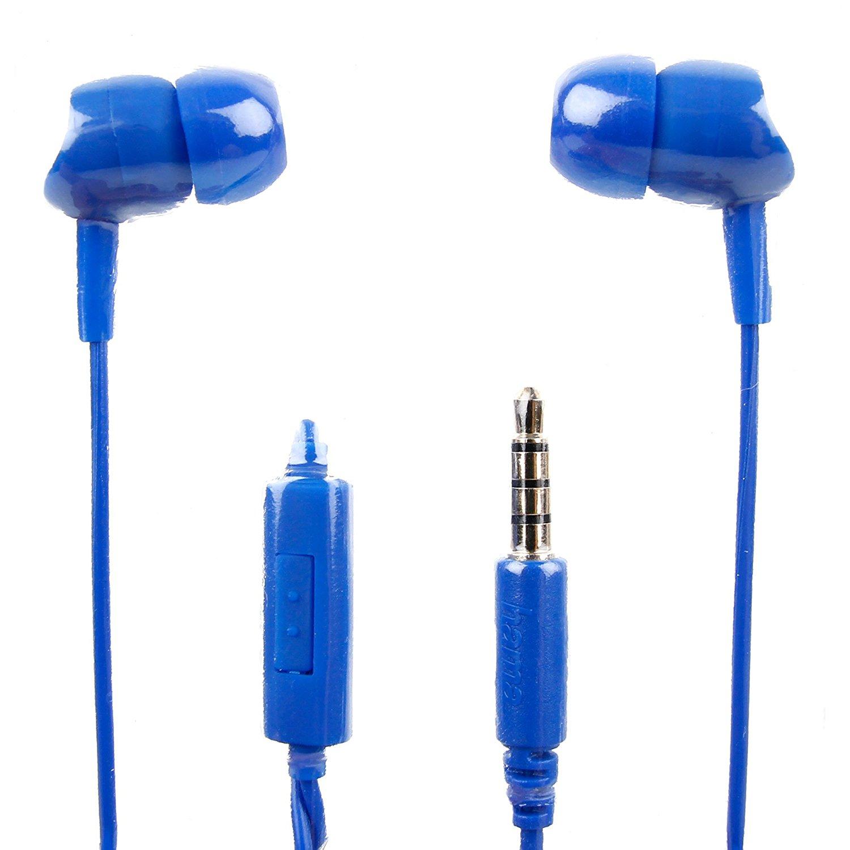DURAGADGET Premium Quality In-Ear Earphones in Blue With Microphone for the Philips DVT1100 | DVT1200 | DVT2000 | DVT20050 | DVT6010 | DVT6500 Digital Voice Recorder
