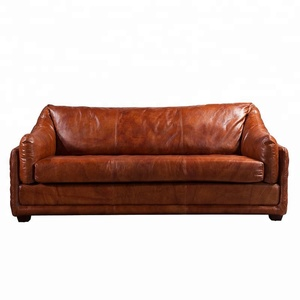 Vintage American style genuine leather sofa set full top grain leather with down jacket luxury living room sofa sets