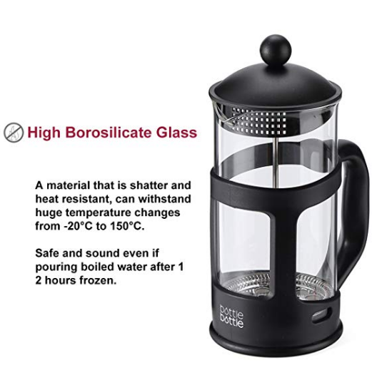 Free Ship 8 Cup Borosilicate Glass French Press Coffee Maker with Spoon 1 L 34OZ Black Low Moq Cutomized Logo French Press Pot