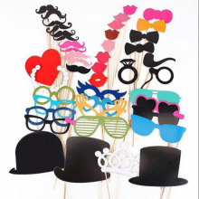 Ywbeyond wedding party photo booth props of 44pcs/bag paper glasses hat mustache wedding cheering props supplies