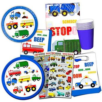 Supplies Theme Cars Disposable Party Plates Set For Party