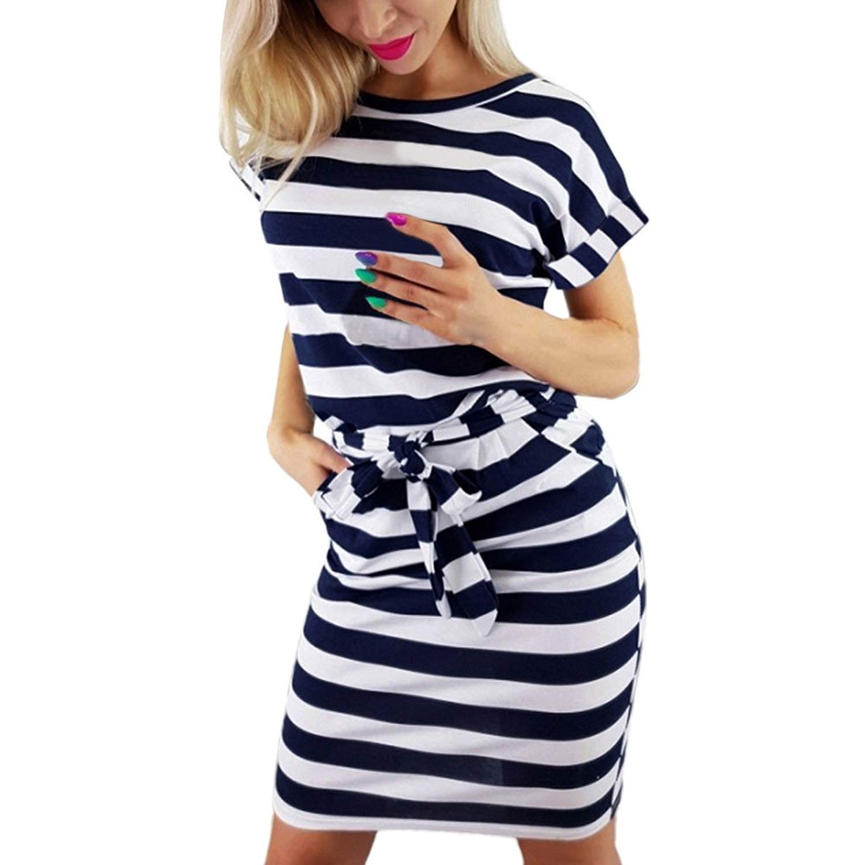 Women's Dress Clearance Sale,Farjing Women Summer Casual Short Sleeve Striped Tie Waist Beach Dress