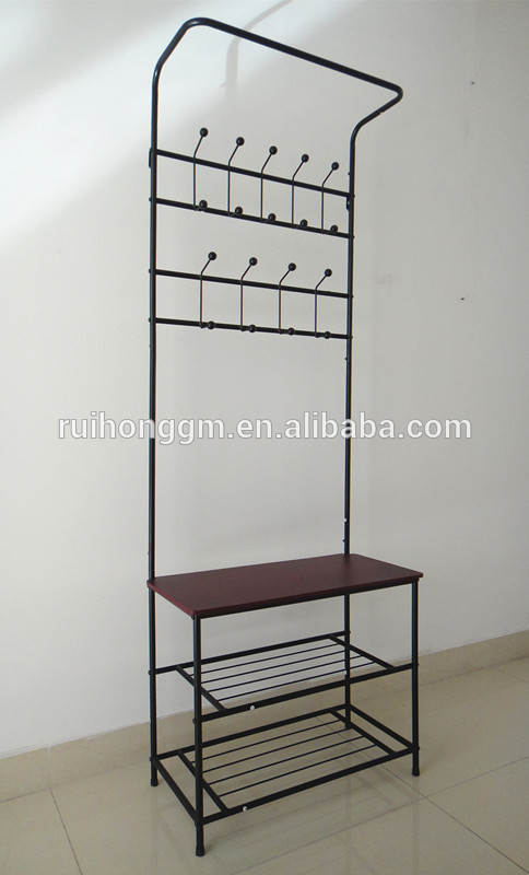 Cushion Bench Metal Foyer Hall Tree Entryway Hat Shoe Storage Coat Rack