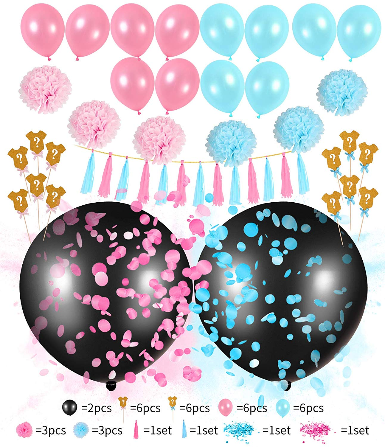 2 Pcs 36'' Black Balloons Gender Reveal Decorations Sets For Baby Shower -Come With Pink And Blue Confetti (Gender Reveal)