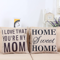 High Quality Letter Character I Love Mom Digital Printing Sofa Linen Cushion Throw Pillow
