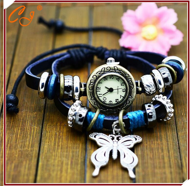 Korea Fashion Women Leather Watch Butterfly Alloy Hanging Dropshipping Retro Leather BRACELET Watch