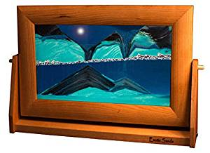 Amazing Shifting Sand Pictures - Large Cherry Frame (Ocean Blue) Best Men's Gifts, Corporate Gifts, Family Gifts for all ages! Top 10 Gifts. Made in America. Lava Lamp - Lava Lite - Hourglass - Liquid Sand Timer