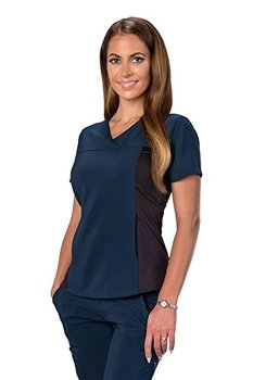e33f7bcc48c Clothing Women s Anti-Microbial Stretch Wrinkle   Stain Resistant  Huntington Scrub Top Navy