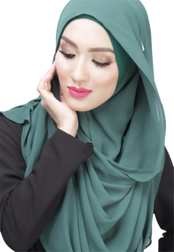 Hijab Factory High-End Muslim Womens Solid Color Soft Chiffon Dubai Instant Shawl Maxi Hijab