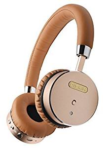 Diskin DH1 Bluetooth Wireless Headphones with Inline Microphone, Stereo Sound Audiophile Beats, Lightweight Bluetooth Headset - Tan / Gold
