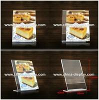 Custom size crystal acrylic display food menue
