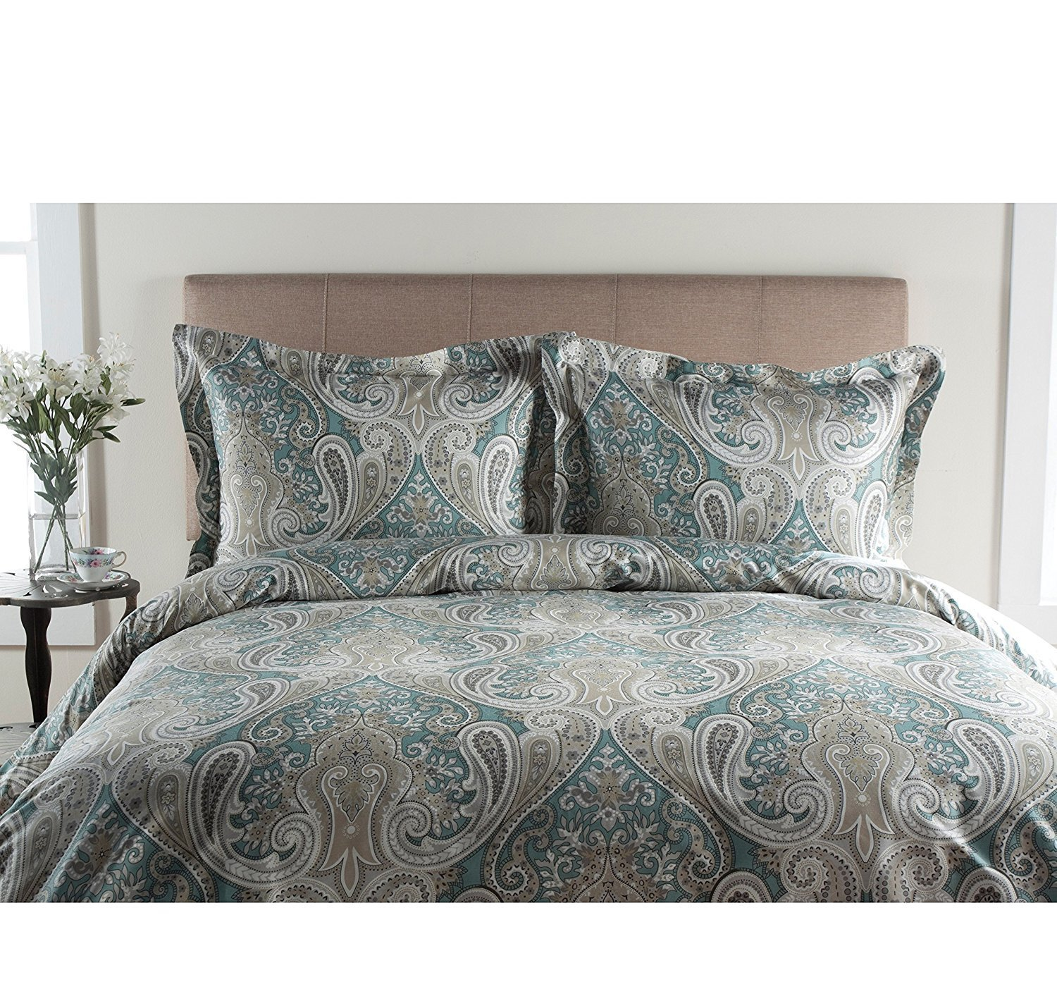 UNK 3pc Hippie King Duvet Set, Damask Flowers, Floral Bohemian Themed Bedding, Paisley Pattern, Vibrant Colors, Aqua Blue Grey Prints, Indie Hippy Spirit, Flower Medallion Kashmir Boho Chic