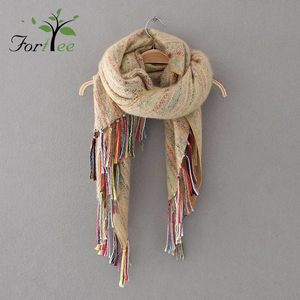 Ethnic style mixed color circle yarn imitation cashmere hand-knotted tassel scarf